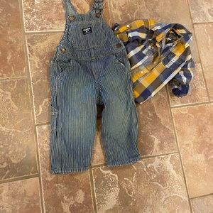 Toddler boy set overall and button down